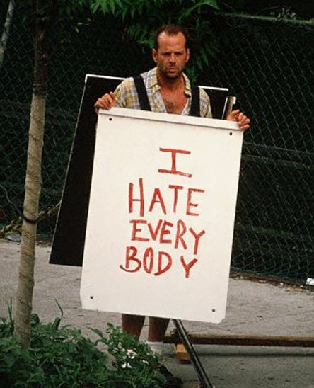dating advice sandwich board bruce willis
