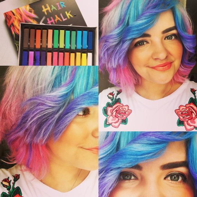Rainbow Hair Using Hair Chalk - seasonsofapril